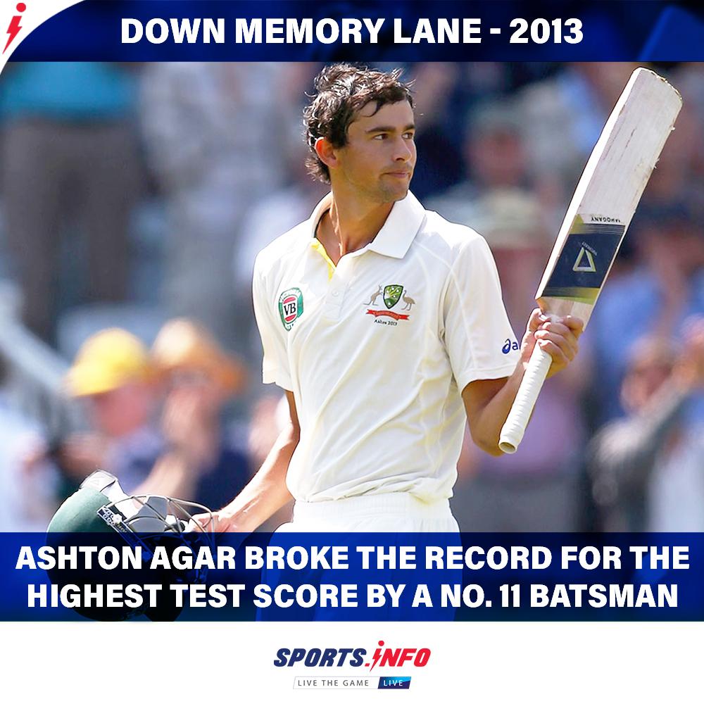 #OnThisDay: Ashton made his Test debut scoring  runs off 110 balls against England at Trent Bridge.  . . . #AshtonAgar #Ashes #TestDebut #Australia #ENGvAUS #SportsDotInfo <br>http://pic.twitter.com/TX0Hklg9jt