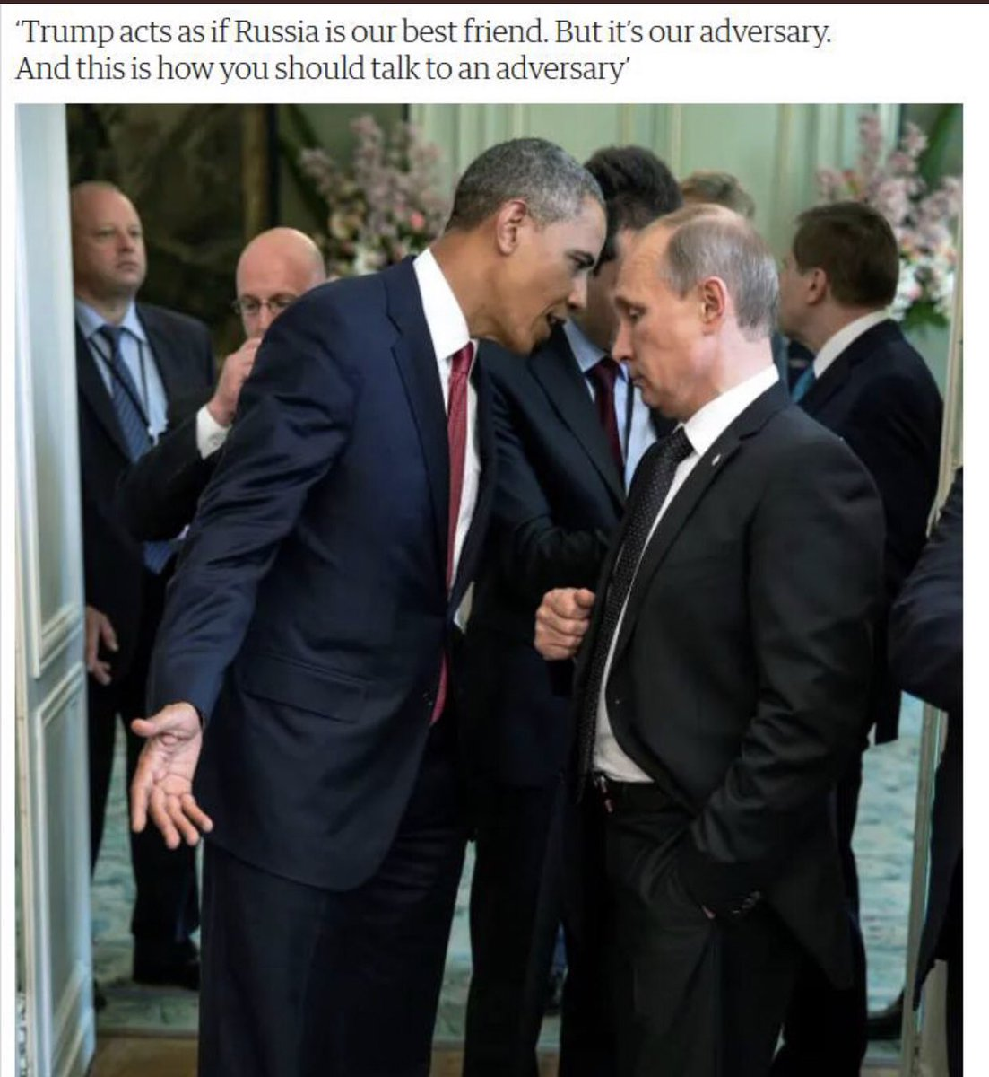 @smc429 This is how it is done! You don't back down to Putin! You meet aggression with civil aggression. The bully will cower. Lil' Don cowers to this fool! #obamaneverbackeddown