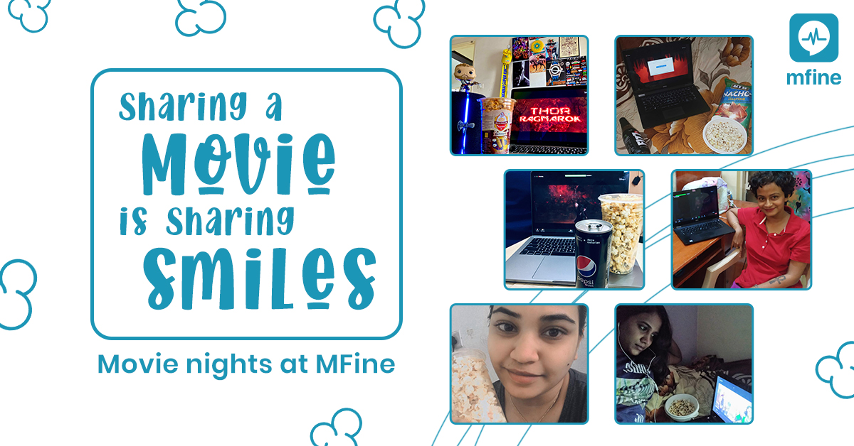 After a whole week of hard work, we got together remotely over a movie and some popcorn! After all, screens are not just for work. At MFine, we make screen time relaxing, enjoyable and perfect for the Friday spirit.  #FridayFun #MovieNight #MentalHealthMatters #EmployeeEngagement https://t.co/DO04ULHANr