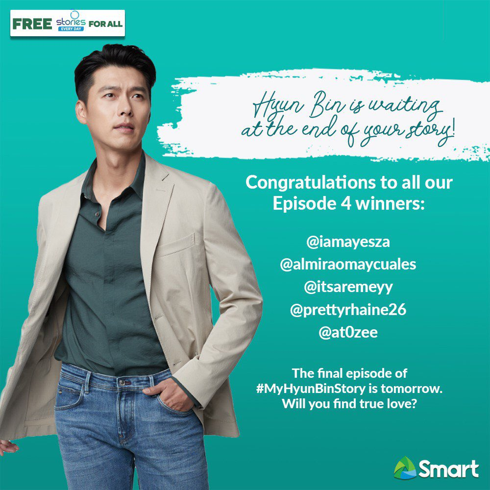 Congratulations to the winners of the special scented candles from the 4th episode of our #MyHyunBinStory promo! Last episode to find The One for #SmartHyunBin is tomorrow! Will it be you? Keep the storiesng going with Smart's Free Stories For All! #SmartAko https://t.co/NTYzOdvYWw