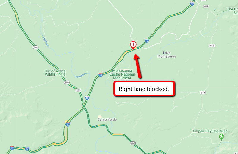 I-17 northbound near Lake Montezuma at milepost 293: The right lane is blocked due to a brush fire. #aztraffic #I17