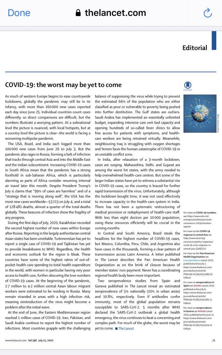 مقال تحريري في مجلة Lancet يشير إلى الاستجابة الاستثنائية للجائحة في المملكة من حيث الميزانية المفتوحة وسهولة الوصول للفحص من خلال العيادات الحرارية ( تطمن وتأكد) وإعادة تدريب الممارسين الصحيين افتراضيًا لتوفير الكوادر البشرية لمواجهة الجائحة https://t.co/gmjAD8SFzv
