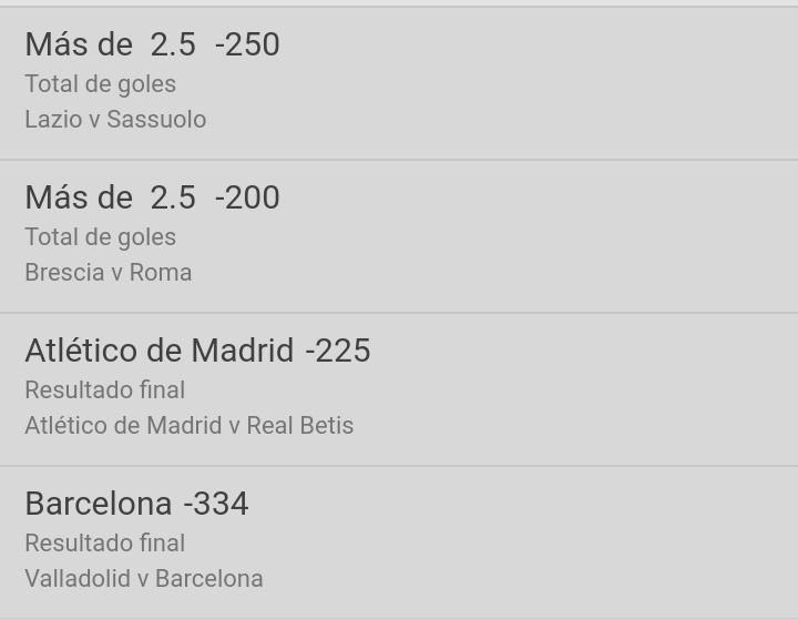 «Parlay» 🔮Lazio vs Sassuolo - ov2.5 🔮Brescia vs Roma - ov2.5 🔮Atlético Madrid vs Real Betis - Atlético ML 🔮Valladolid vs Barcelona - Barcelona ML (+294) 🍀⚽🇪🇸🇮🇹⚽🍀 https://t.co/gZPuV47FQD