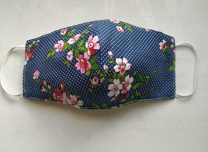 #ClothMask #FaceMask #CottonMask #Triple #Layers #Pocket for #Filter #Handmade face mask #Navyblue #polkadot #Floral #washable mask  @Etsy