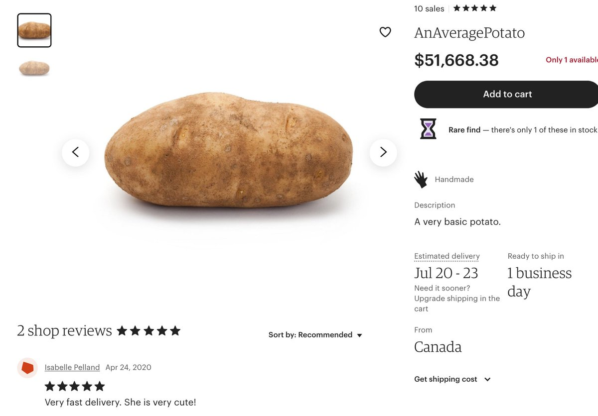 $51k POTATO, GREAT REVIEW! SHE'S VERY CUTE. ETSY
