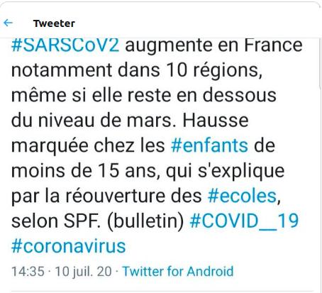 Le retour du #COVID__19 dans 10 régions à cause de la réouverture des écoles merci qui ? #Macron #LREM #Blanquer le caresseur de platanes twitter.com/JFaerber/statu…