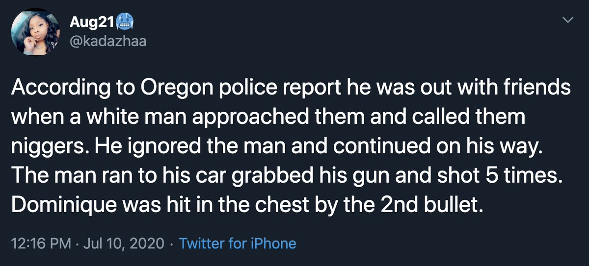 People who say they are related to Portland shooting victim #DominiqueDunn have spread copy-pasted false claims about a random racist shooting by a white man. Predictably, it has spread like wildfire & is being used by antifa, the far-left & BLM. https://t.co/7gZbFiEOzW