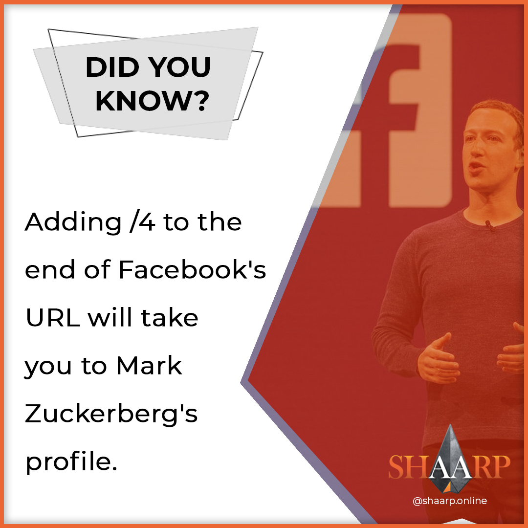 Adding /4 to the end of Facebook's URL will take you to Mark Zuckerberg's profile. #shaarpshareconnectevolve #shaarp #shaarponline #share #connect #evolve #mind #body #soul #self #bodymindsoulself #aduarte7 #adlegacy #lifecoaching #coach #keytosuccess #businesslifepic.twitter.com/OiSGodgp7V