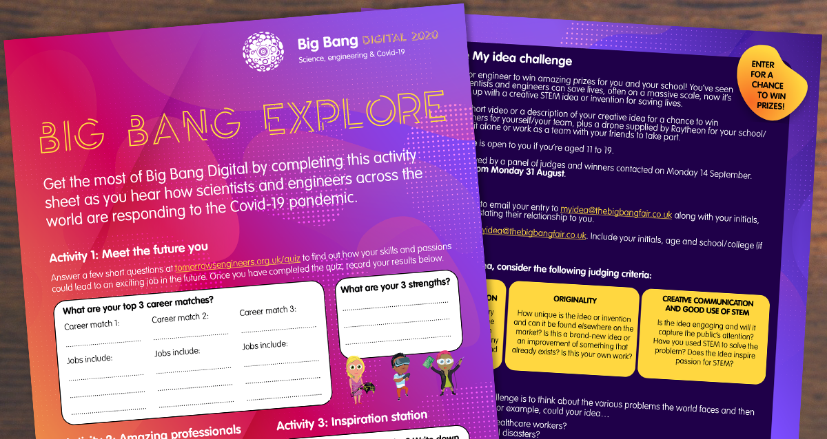 Available to download now, the Big Bang Explore activity sheet can help you plan your day on the #BigBangDigital website, with the added chance to win prizes. https://t.co/jUVGysQz72 https://t.co/q27KKcs4Xk