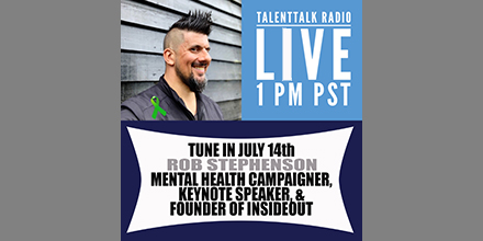 Tune in Tuesday while our own @ChrisPDyer chat's with Mental Health Campaigner & InsideOut Founder, @Rob_InsideOut next week on #TalentTalk Radio. You can follow the LIVE tweets or tune in and listen at 1:00 pm PST. #tuesdaymotivation https://t.co/ieUijYYKnk