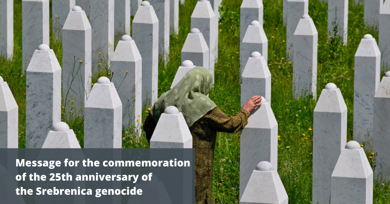 Today we commemorate the 25th anniversary of the genocide in Srebrenica We pay tribute to all the victims, their families and to those who still have no confirmation of the fate of their loved ones We will not rest until justice is served europa.eu/!gT33fw #Srebrenica25