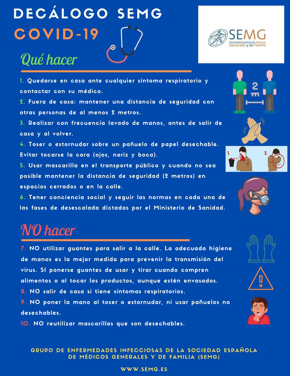 📢No hay que bajar la guardia si no queremos volver a la situación de #confinamiento #EstadoDeAlarma  Sigue nuestro #DecálogoSEMG #PonteLaMascarilla😷  #LavateLasManos #MantenLaDistancia  #COVID19  #EsteVirusLoParamosUnidos https://t.co/x7Ys3opmvF