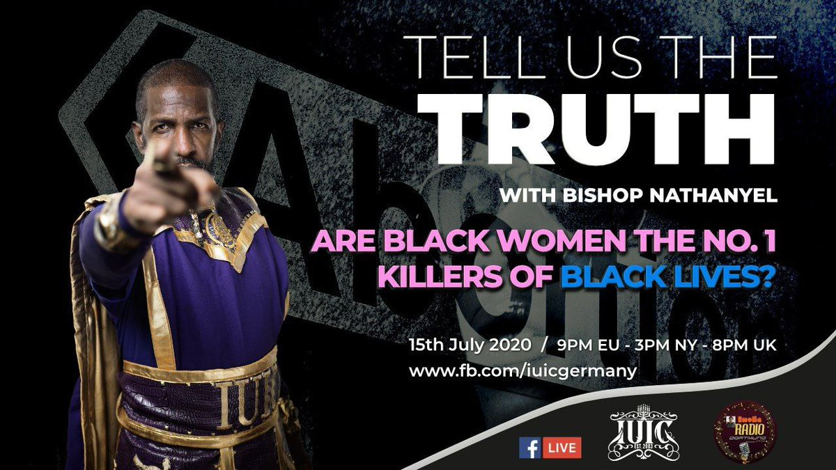 Tune in this coming #wednesday as #Bishop #Nathanyel of #IUIC  answers the question are #Blackwomen the number one #killers of #black #lives on Emelia Radio #Germany. #like and #follow now, so you don't miss it.  https://t.co/hgMGX1SWxl https://t.co/N6DzDcXH5i