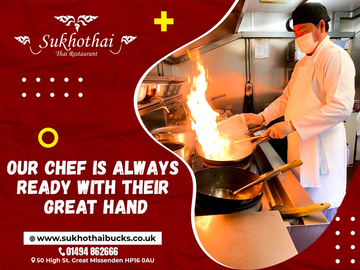 Our chef is always ready with their great hand. You just need to join and have a nice time. BOOK NOW!  Order here> https://sukhothaibucks.co.uk  #sukhothai #greatmissenden #foodies #foodie #thaifood #thairestaurant #collection #delivery #takeaway #unitedkingdompic.twitter.com/0vCfNhBIm1