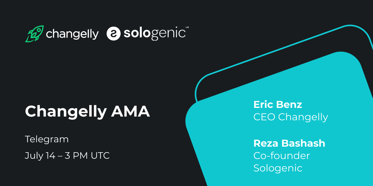 The Changelly and @realSologenic AMA will be held next Tuesday! Don't miss this unique opportunity to learn more about both companies:   💠 Follow us on Twitter  💠 Like & RT  💠 Join our TG 👉https://t.co/lmUNmkPMFt  💠 Reply with your questions!  #changelly_ama $SOLO https://t.co/6pCeTFq2N0