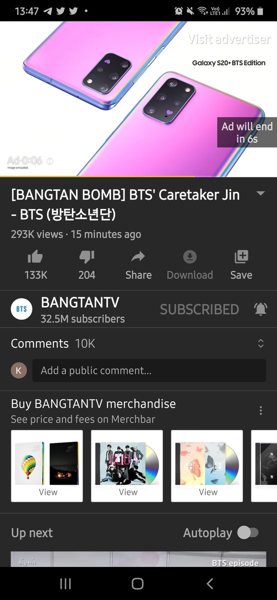 The only ad I won't skip.   Also, we are getting bangtan b*mbs more frequently <br>http://pic.twitter.com/s3tfZA0LCa