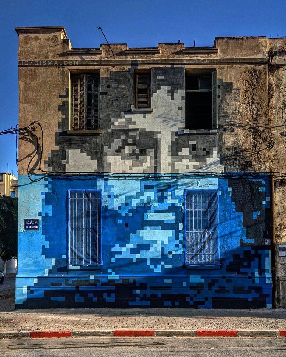 Une fresque en Pixel Art sur le mur du Lycée abandonné de #Sousse - bab bhar.  Dans les cadre des #Uv3 par @ElbirouArt https://t.co/GCv1lSP00v