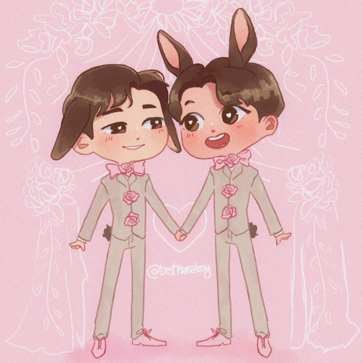 RT @bestkanaboy: bunny grooms~ 🐰 #WanjaiFanart #MewSuppasit #GulfKanawaut #mewgulf https://t.co/HqjTaKyJdI