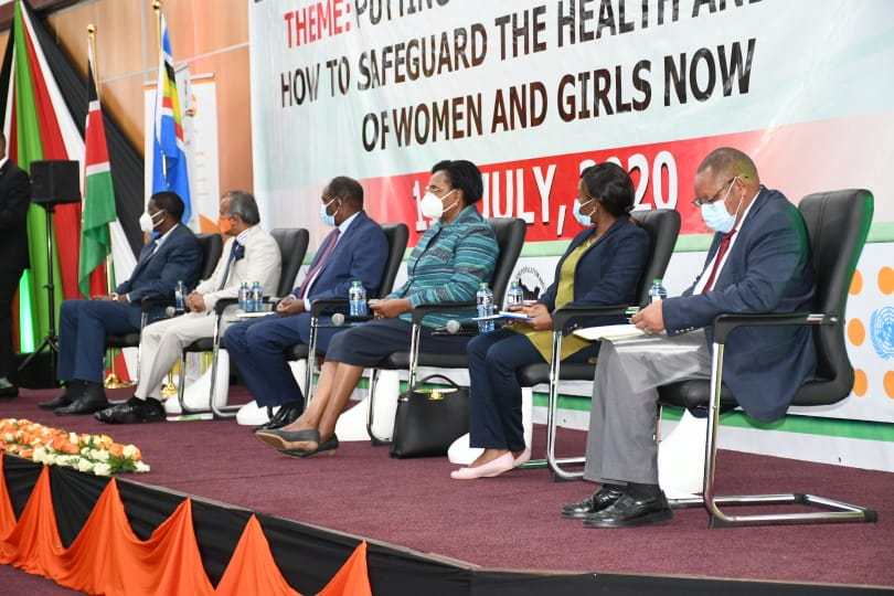 "Happening now: Cabinet Secretary @CSMargaretKobia attending the celebrations to commemorate the World Population Day 2020 themed; ""Putting the Brakes on Covid-19: How to Safeguard the Health and Rights of Women and Girls Now'. #WorldPopulationDay2020 https://t.co/LNRS78LLqf"