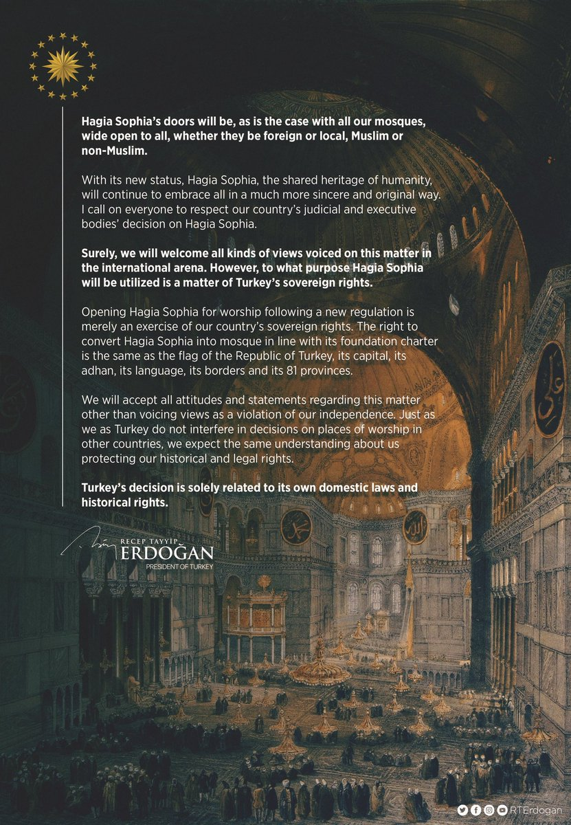 Spot the difference.  Erdogan in English: Hagia Sophia's doors will be, as is the case with all our mosques, wide open to all, whether they be foreign or local, Muslim or non-Muslim.  Erdogan in Arabic: Revival of Hagia Sophia is a sign towards return of freedom to AlAqsa mosque. https://t.co/6Niid8fP8J