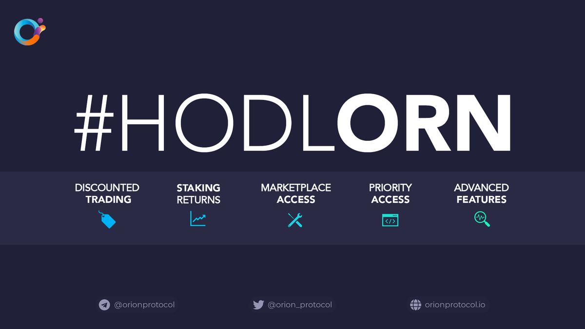 #HODLORN At the core of @OrionProtocol is the $ORN token. Holding ORN unlocks a range of benefits: ✅ Discounted Trading ✅ Advanced Features ✅ Priority Access ✅ dApp Marketplace Access ✅ Staking Returns Learn more: blog.orionprotocol.io/holdorn
