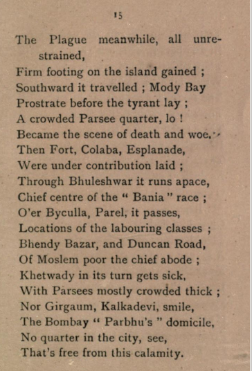 Bombay plague poem, from History of the Plague in Bombay, by B F Patell, who taught at Elphinstone.