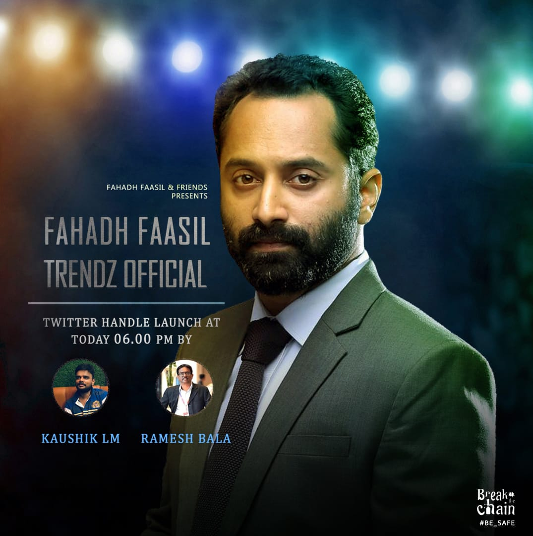 Fahdfaasil trends launched today at 6.00 pm by @LMKMovieManiac and @rameshlaus !  #StayTuned   @Forumkeralam1 @Mollywood_moviepic.twitter.com/fQpg9WgmQ3