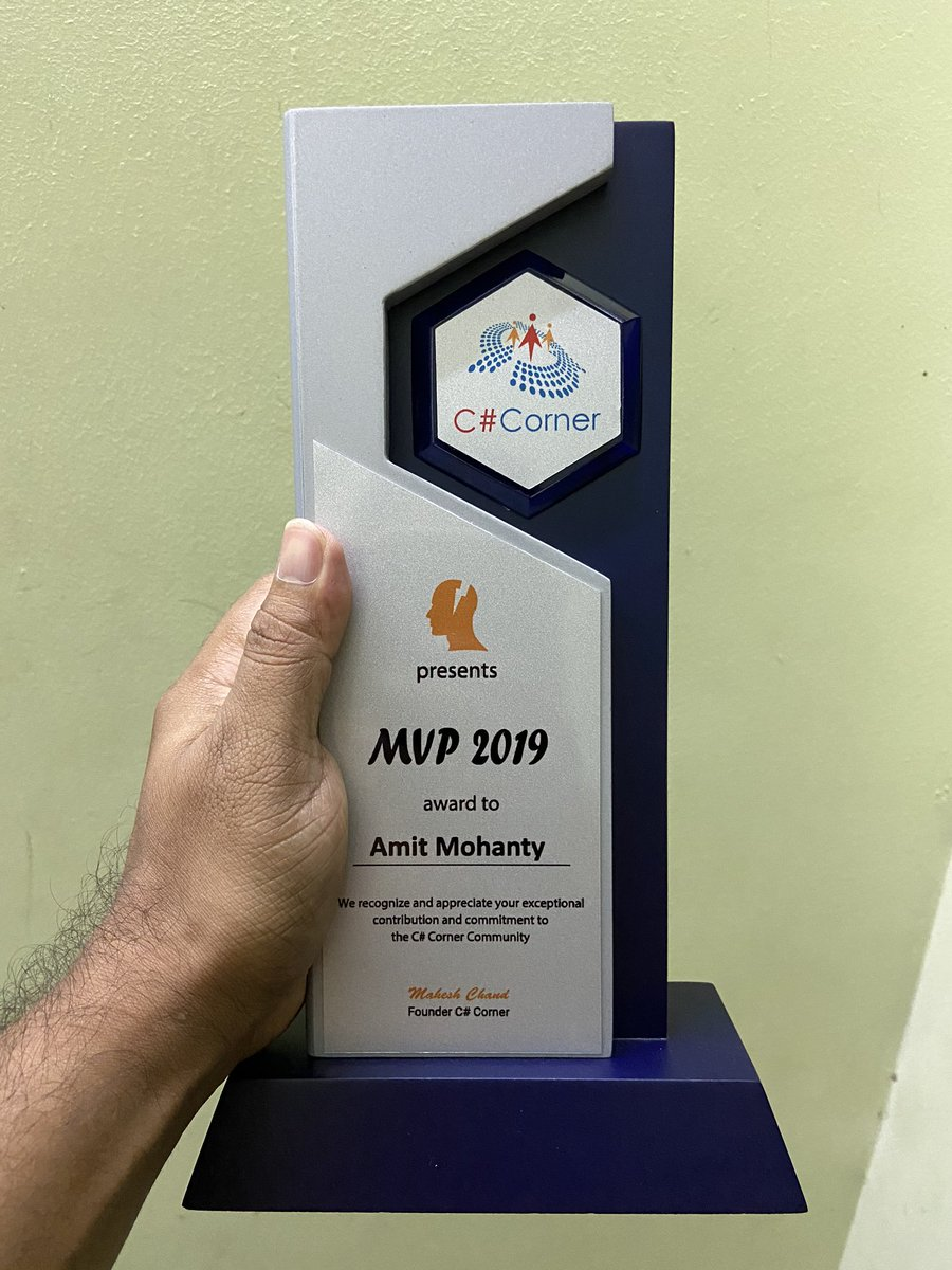 One of the best achievement of my life.  This appreciation means a lot to me. Thanks @CsharpCorner  team and @mcbeniwal <br>http://pic.twitter.com/w0Ii4r4eJC