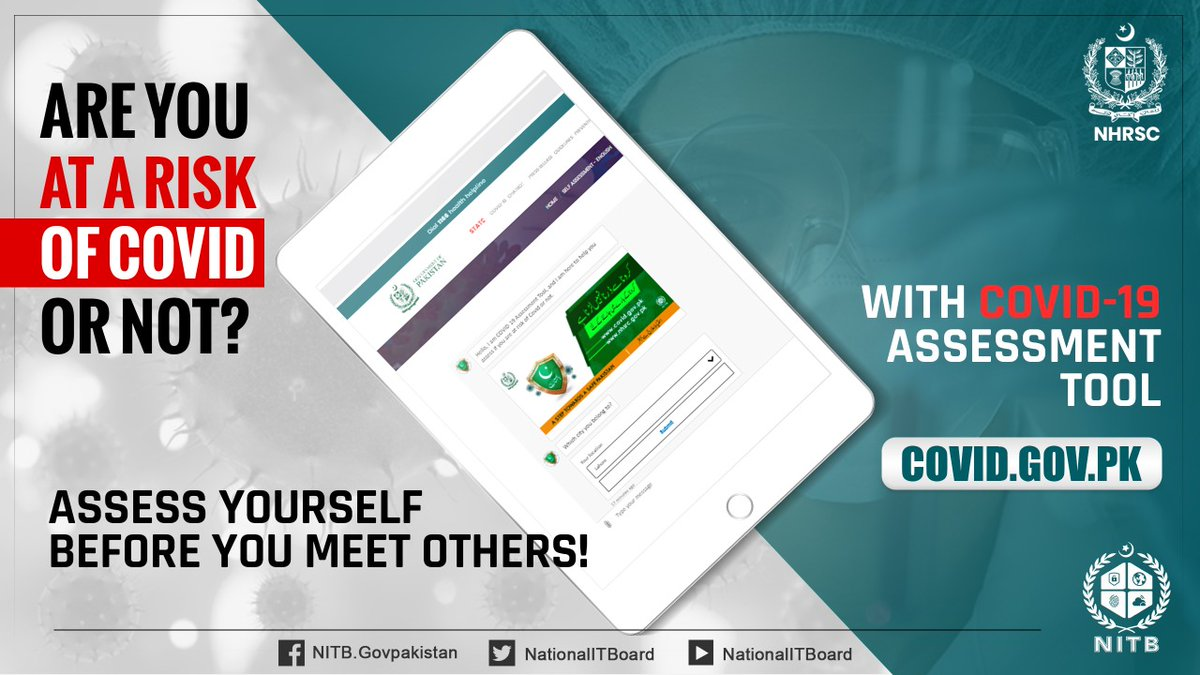 #Prevent Yourself and others with on-time #Covid19 self assessment available on COVID.GOV.PK . Visit for more details.. Powered by @NationalITBoard for @nhsrcofficial @ShabahatAShah @MoitOfficial @SyedAminulHaque @pid_gov @dcislamabad @MoIB_Official