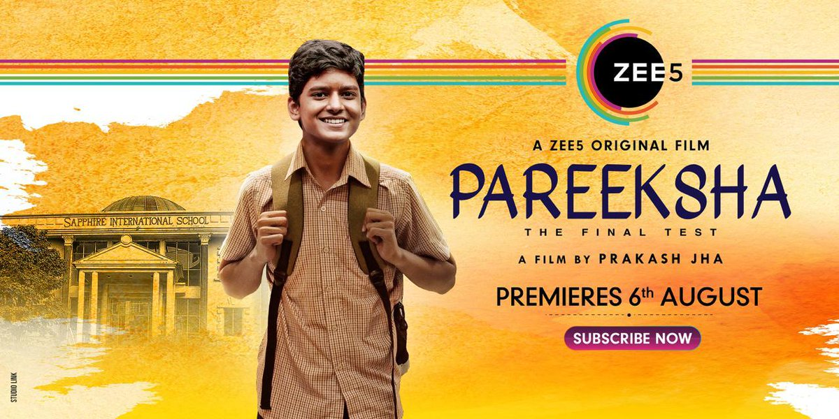 A heartfelt tale of a child's pursuit of a fair chance. Watch #PareekshaOnZee5, premiering on August 6th.  @_AdilHussain @priyankabose20 @PJP_Online @sanjaysuri @prakashjha27 #ShubhamJha