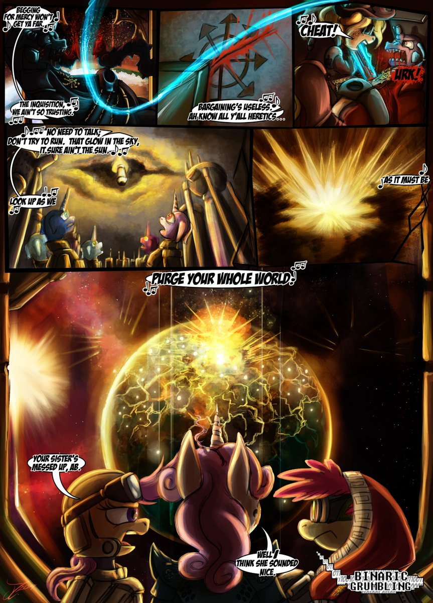 Comic - EXTERMINATUS. Page 03 by jamescorck https://t.co/GWks9jdAnp   Page 3 and Last! I hope you guys liked this very grimdark comic.  #DigitalArt #Crossover #MLPFiM #WarHammer40k #WH40K #ComicStrip #ArtistsonTwitter #Comic #Exterminatus https://t.co/ggDKEhiFgc