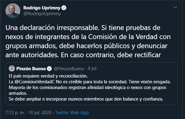 #MananasBLU Lo bueno Dr Uprimy @RodrigoUprimny es que no todos los egresados de la Nacional somos de izquierda, ni apoyamos la #FalsaPaz o #PazDeversalles con Farc, ni apoyamos una Comisión de la Verdad que solo es nombre ni a la Jep ilegitima. Me enseño Bien, Ud es el equivocado https://t.co/QEuVUk06yV