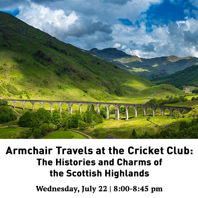 Join us and fellow members on July 22 for our first Armchair Travels series featuring the Scottish Highlands. Led by an expert in Scottish history, you can learn more about this majestic part of the world. RSVP today at https://t.co/1CcT55PYHz #TCSCC https://t.co/Db8HFm0ku9