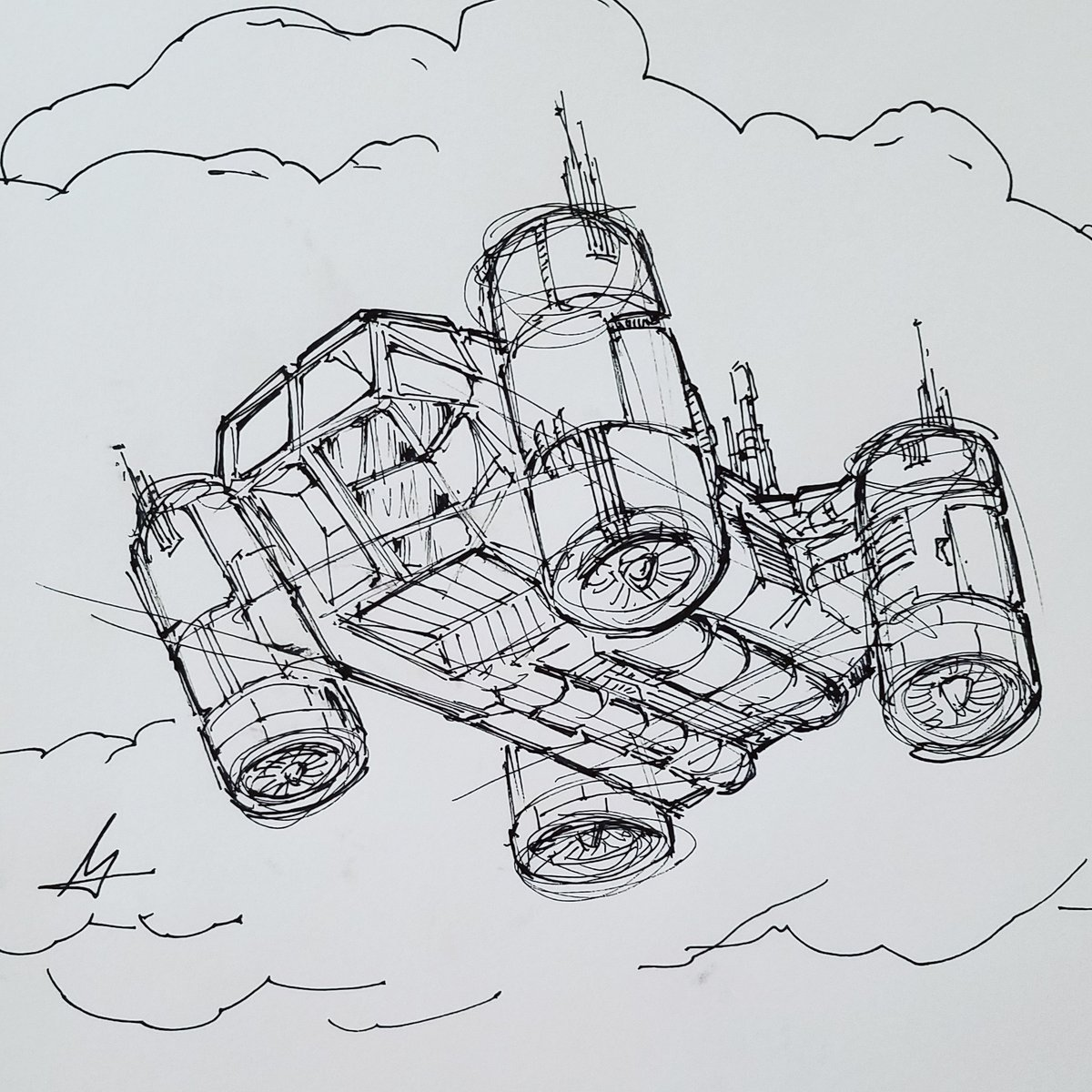 Heavy payload HOVERTOW, one of the vehicles in the story I'm writing. Quick sketch before I turn in for the day.  #drawing #industrialdesign #csulb #sketch #aircraft #vehicle #pen #productdesign #oldschool #distancenovel