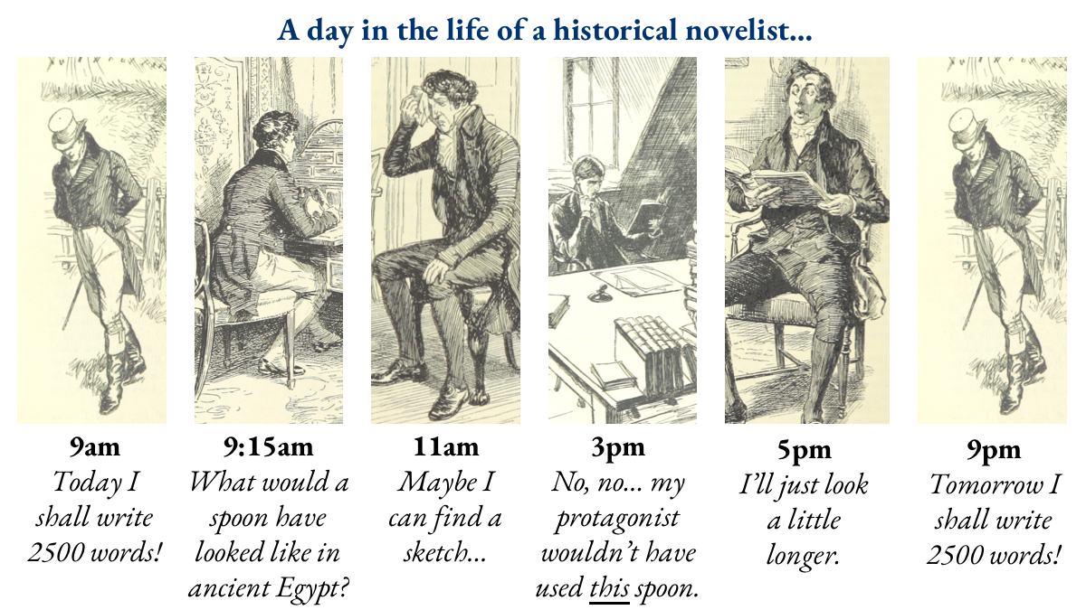 Historical fiction writers: RT if this feels familiar! A day in the life of a historical novelist. Source: How to write historical fiction in 10 steps (https://thehistoryquill.com/how-to-write-historical-fiction-in-10-steps/…) #histfic #amwriting pic.twitter.com/9xpS2aaLnK