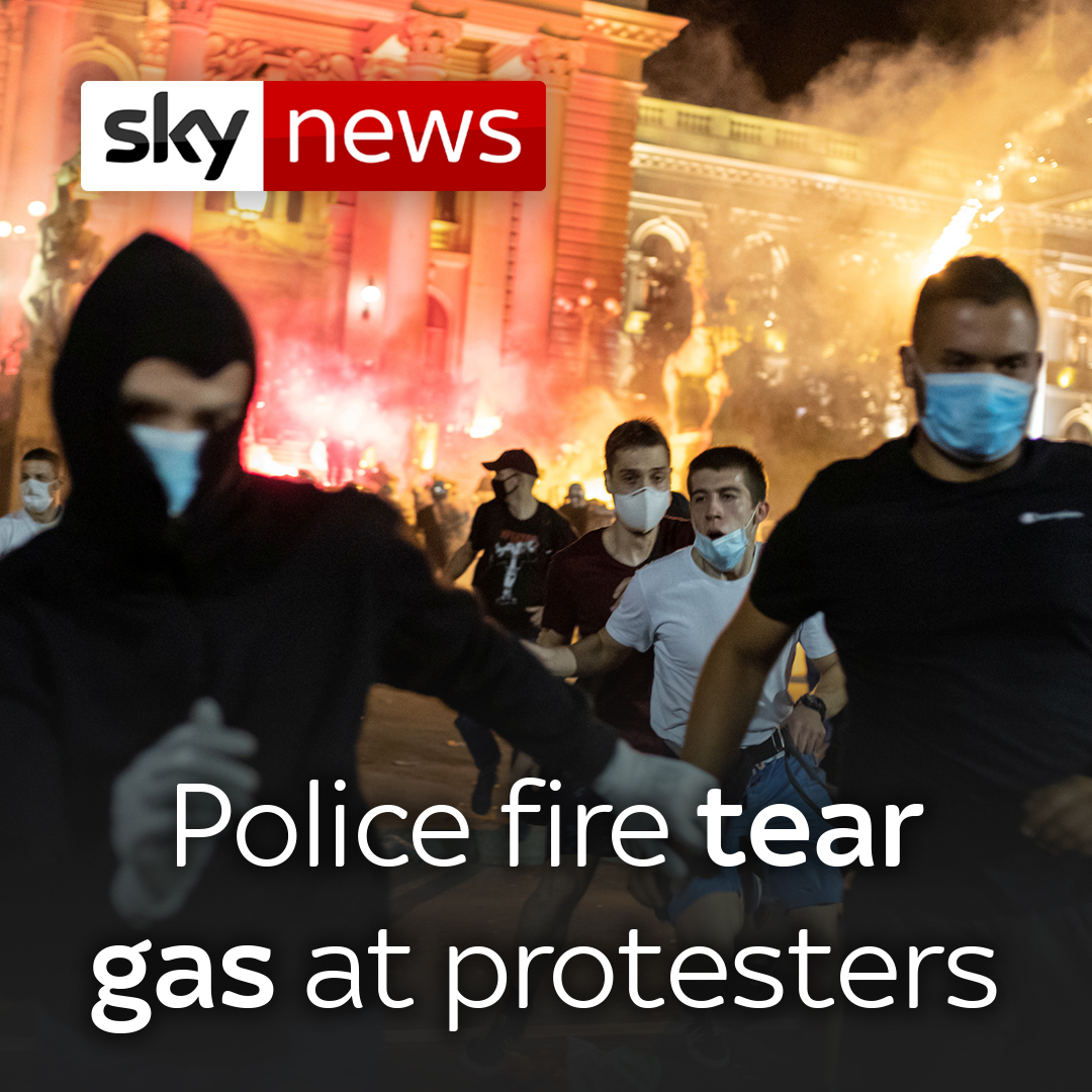 Police fired tear gas at hundreds of demonstrators who tried to storm Serbias parliament on Friday. It was fourth night of protests against the presidents increasingly authoritarian rule. To read more, click here: trib.al/QWGINmv