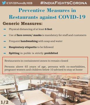 #IndiaFightsCorona :  📍 Preventive measures in #Restaurants against #COVID19   ▶️Generic Measures  ▶️Specific Arrangements  #IndiaWillWin  #StaySafe   @fssaiindia