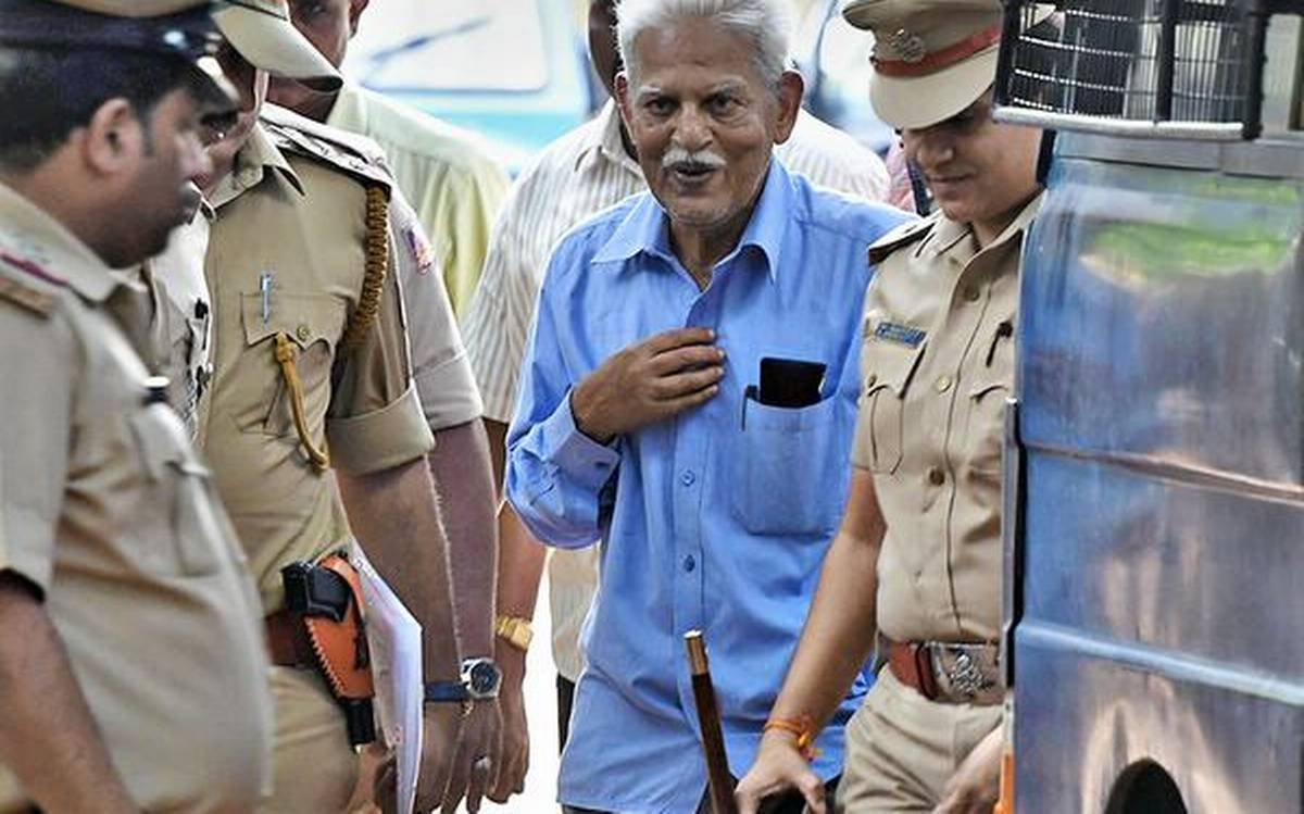 SOS: #VaraVararao is seriously ill. Called up wife Hemalatha today, has been hallucinating about death of his long gone parents. Person with him in jail told family over phone that VV is in #verybadshape. Delirious. Unable to walk or brush teeth! #RT for urgent hospitalization.