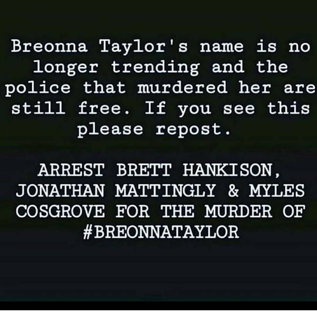 🗣 #theshowmustbepaused #enoughisenough #wenotdoneyet What if it was one of YOUR love one's? #BREONNATAYLOR✊🏾 Keep fighting for her, keep saying her name. Call, email, post, protest, harass our elected officials. DO SOMETHING. #keepsayinghername Breonna Taylor #HERlifemattered https://t.co/X78mdHq2Of