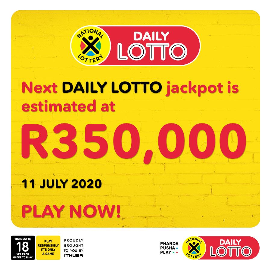 Today's DAILY LOTTO jackpot is estimated at R350,000! Have you played yet? PLAY NOW nationallottery.co.za or on the National Lottery Mobile App. Tickets sales close at 8:30 pm on any given draw day
