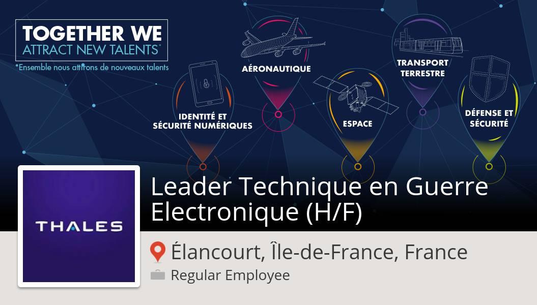 Thales France recrute ! Leader Technique en Guerre Electronique (H/F) #Élancourt, postulez dès maintenant ! #job https://t.co/EhzjJ5ExPl https://t.co/DZ4sHNpEjM