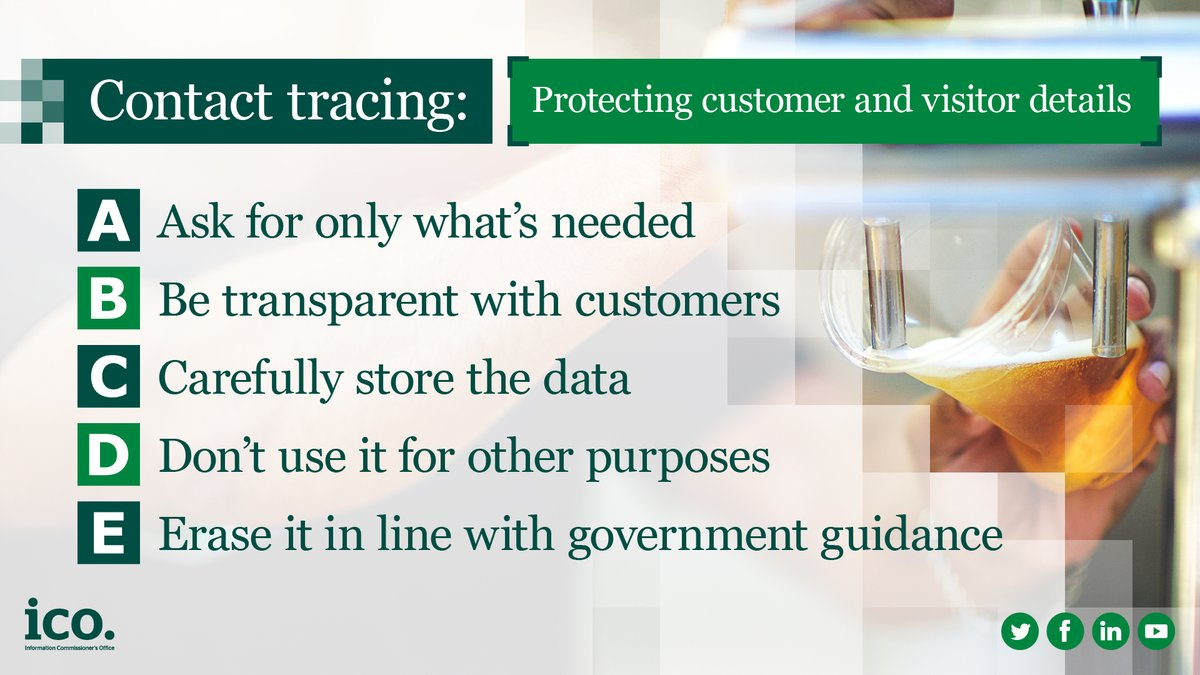 If your organisation is collecting personal information from your customers to support contact tracing, you might have questions about what you should do to keep it safe. We've got advice on security measures here: ow.ly/Fx5450AvF2J