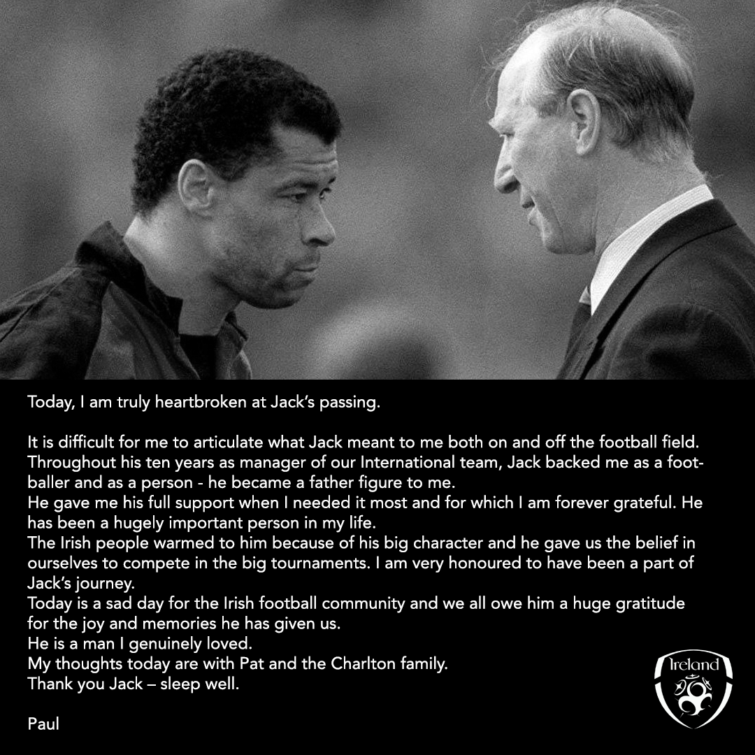 A heartfelt tribute from @Paulmcgrath5   Incredible words for the great man.  #RIP https://t.co/ZBJFBWMrFa
