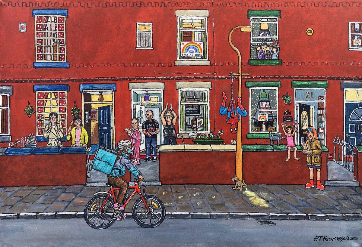 "PT Richardson - ""Same Time Next Week Then? "" Ref: PTR 115, acrylic on canvas 36"" x 24"", https://t.co/ZeF9tzIVYV  #ptrichardson #northernart #ashton #Tameside #manchesterart #manchester #Denton  #lowry #1960s #Ashton-Under-Lyne #ashtonmarket #coronavirus #clapforcarers #COVID-19 https://t.co/z4iVEuDluV"