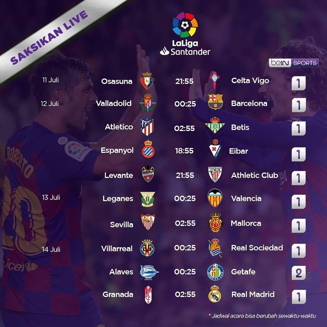 Jadwal @LaLigaEN Match Week 36  11/7/2020 22.00 WIB Osasuna Vs Celta Vigo  12/7/2020 00.30 WIB Valladolid Vs Barcelona 03.00 WIB Atletico Madrid Vs Real Betis 19.00 WIB  Espanyol Vs Eibar 22.00 WIB Levante Vs Athletic Bilbao  #LaLigaSantander #LaLiga https://t.co/9BBX4ykDbS