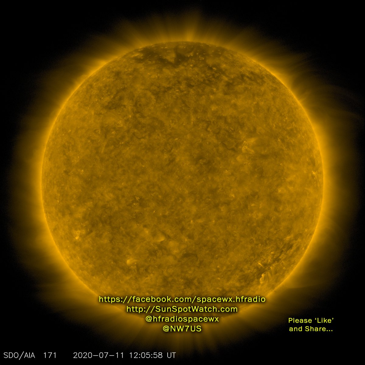 Today's Sun (171A EUV) #spaceweather #spacewx #solarstorm #hamr #swl https://t.co/K9SvEinJpZ