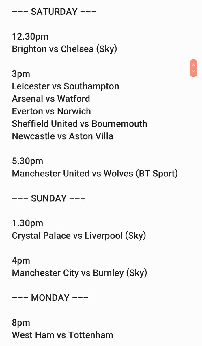 These are the Premier League fixtures, there are no other Premier League fixtures