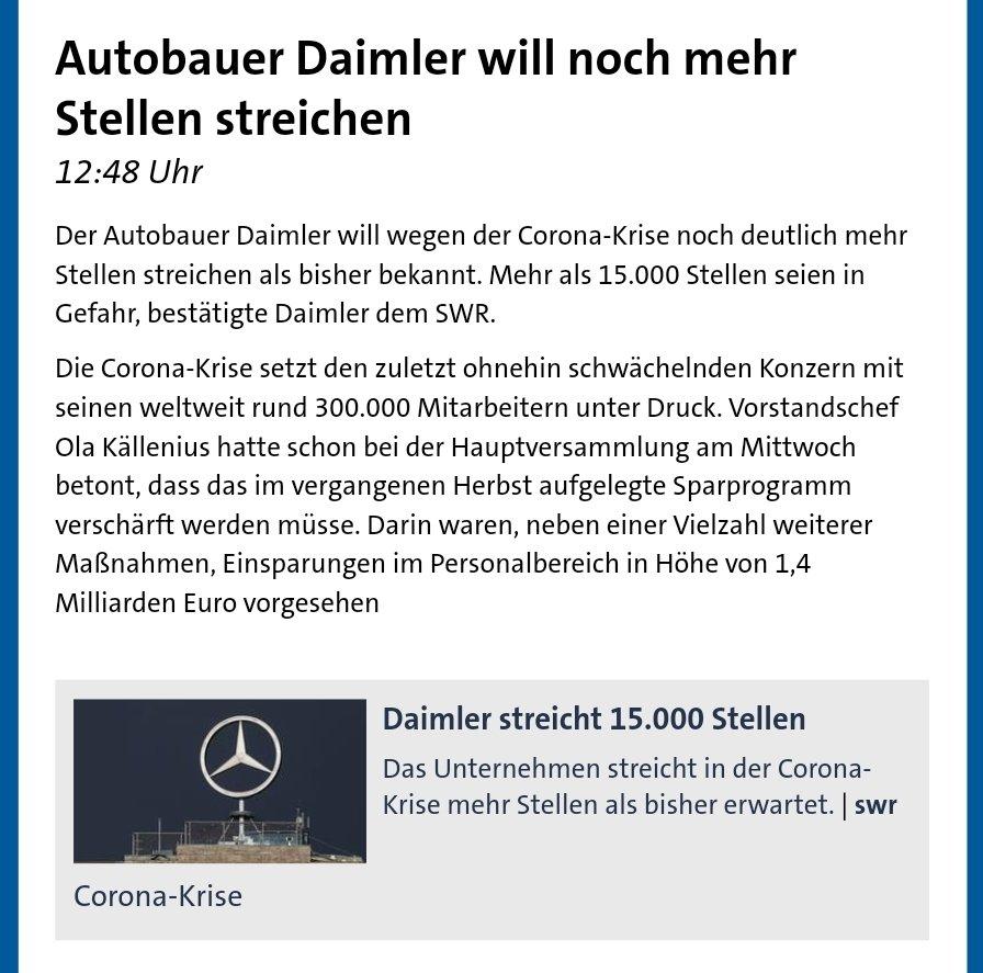 Für was #Corona nicht alles herhalten muss - das Virus ist auch Schuld, dass #Daimler noch mehr als die bereits angekündigten 15.000 Mitarbeiter entlassen muss  Dass alte Technologie und Versäumnisse bei der E-Mobilität dafür verantwortlich sein können, zieht niemand in Betracht. pic.twitter.com/bAjZCc6ivA