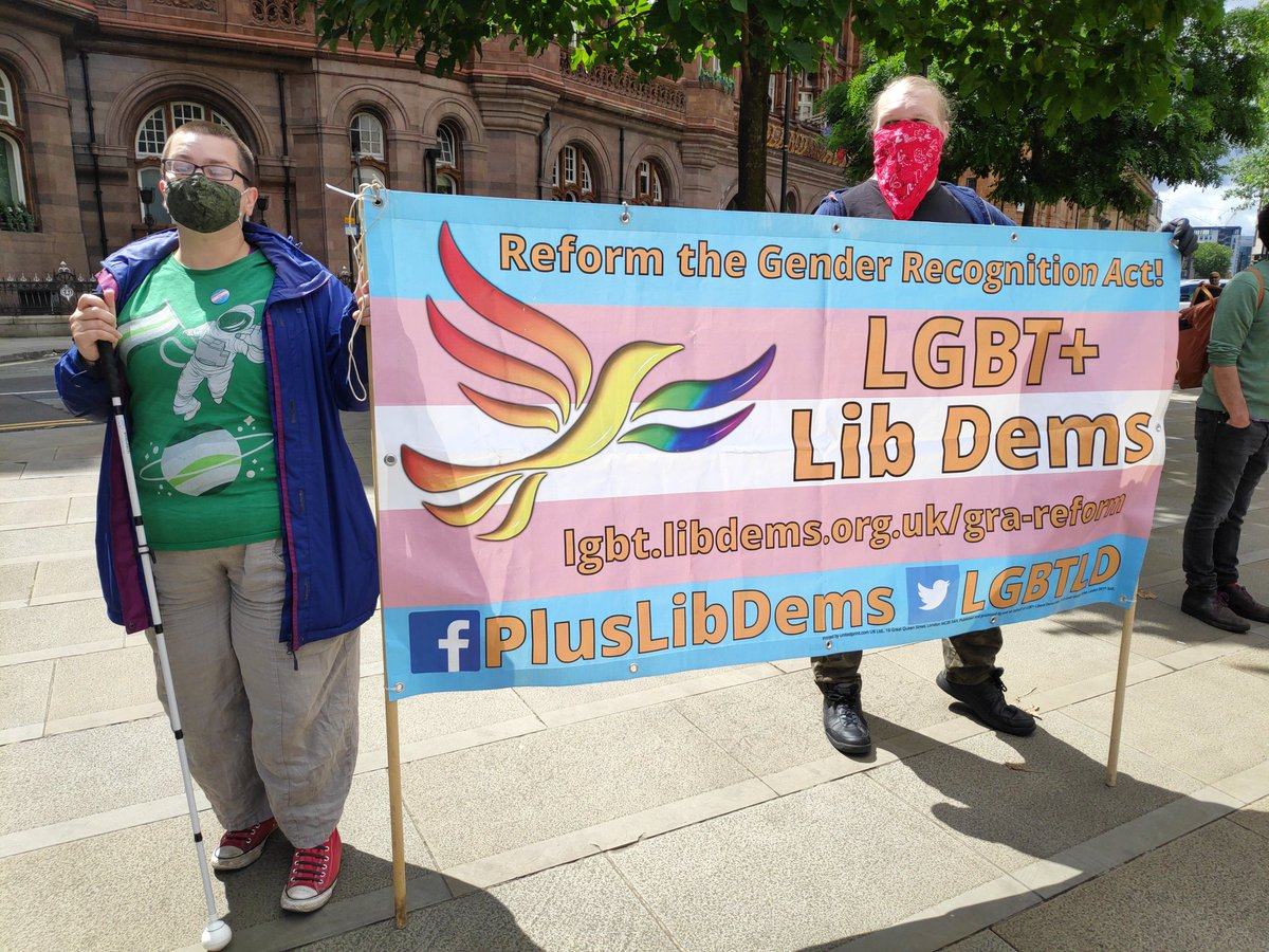 Our chair @davepage_mcr and exec member @cosmo_holly at the #Manchester #wearethe70percent #TransLivesMatter demo.