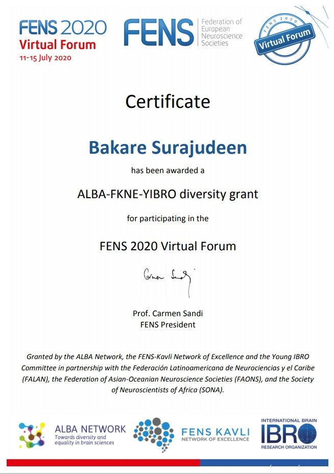 Again, Congratulations to @Neurophytother1 members @surajudeenbaka3 @diphenomenal1 @Motunrayo and @FolarinRoyhaan as you participate in the #FENS2020 from today 💐🌟🌠. Many thanks to @network_alba @FensKavliNet @ibroSecretariat @FENSorg @SONAorg for making it possible. https://t.co/u7KXoKG5lP